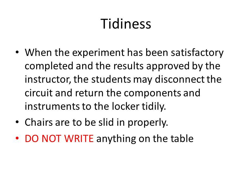 Tidiness