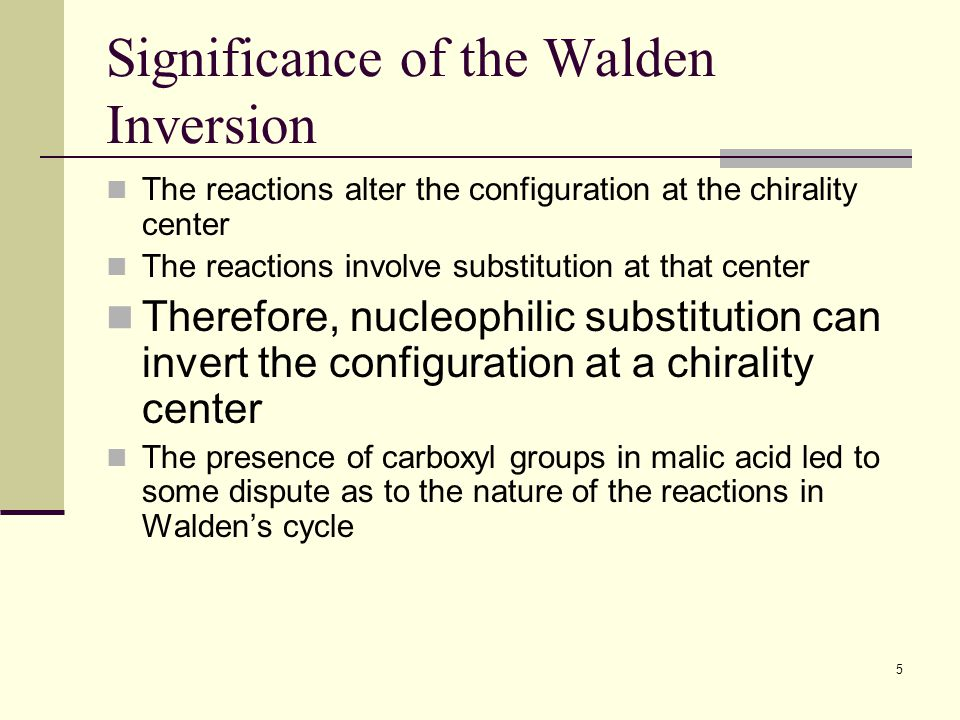 Significance of the Walden Inversion