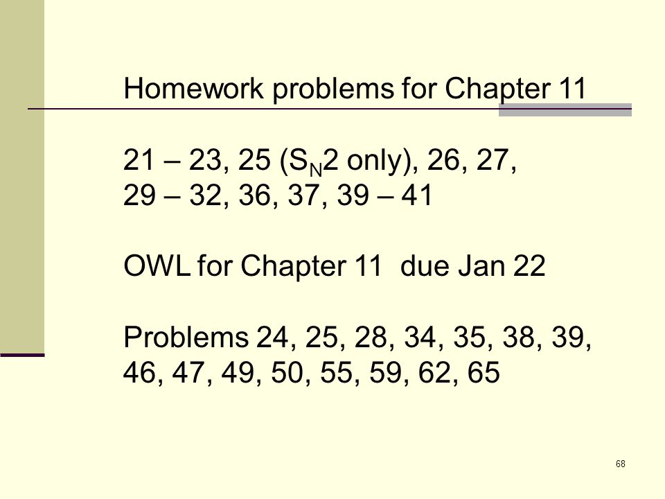 Homework problems for Chapter 11