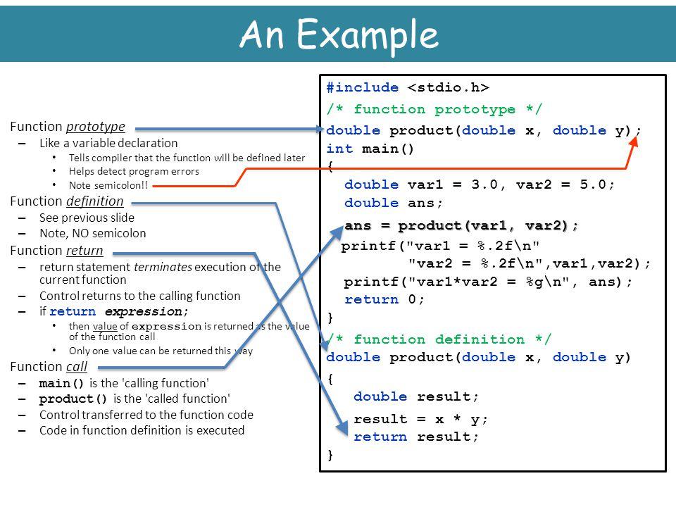 An Example printf( var1 = %.2f\n #include <stdio.h>