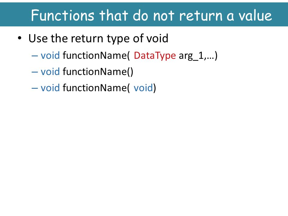 Functions that do not return a value
