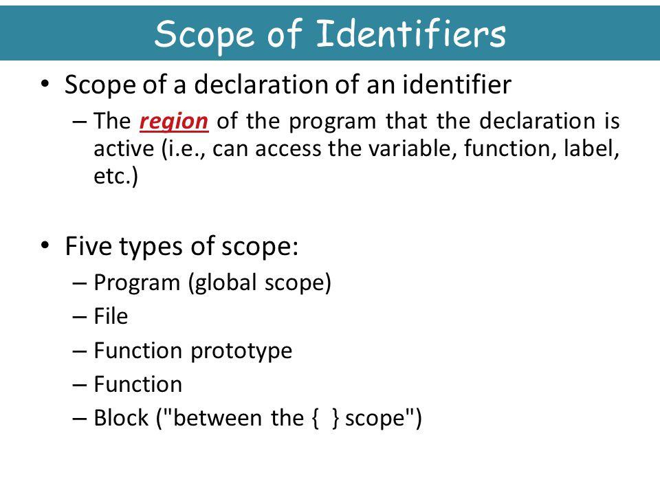 Scope of Identifiers Scope of a declaration of an identifier