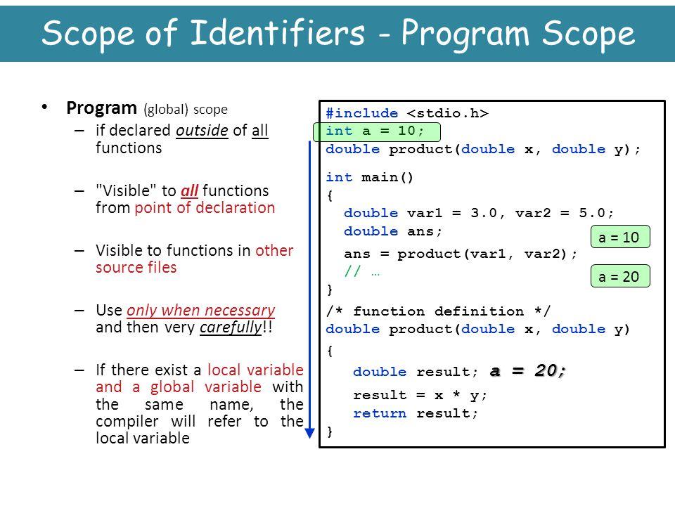 Scope of Identifiers - Program Scope