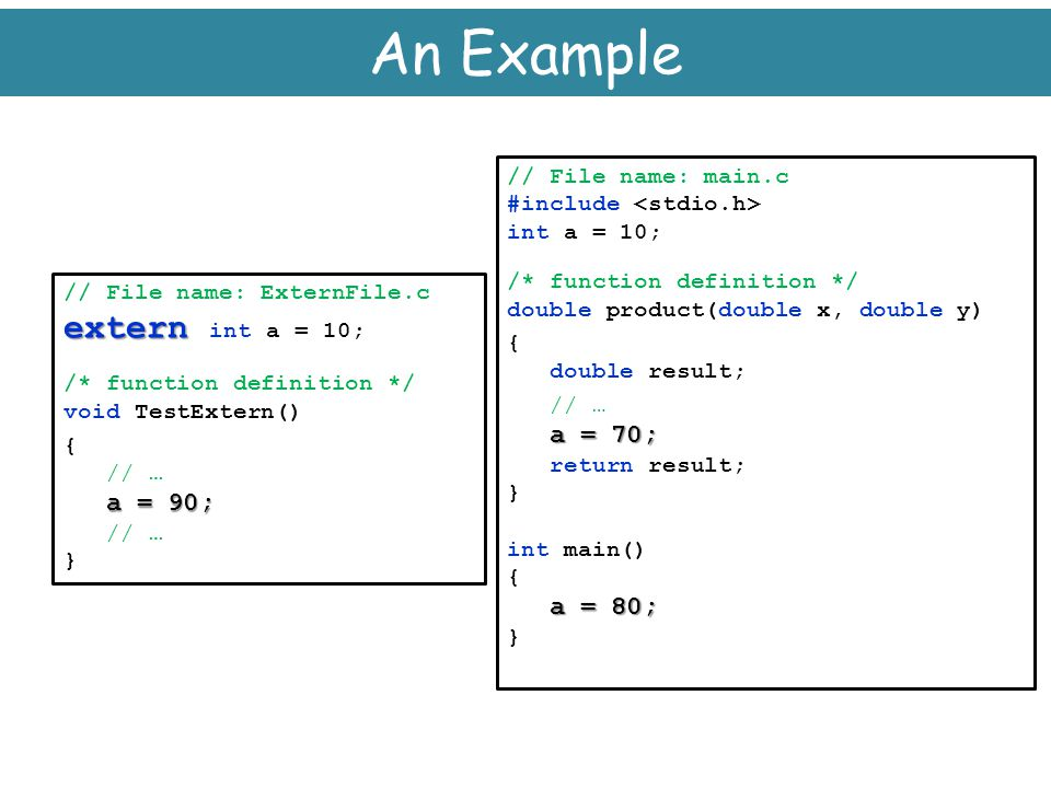 An Example extern int a = 10; // File name: main.c