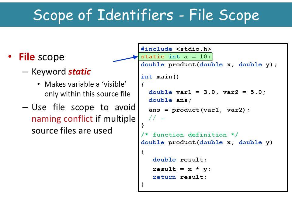 Scope of Identifiers - File Scope