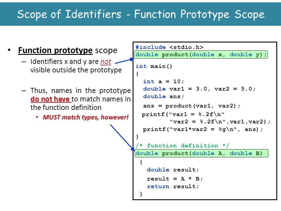 Scope of Identifiers - Function Prototype Scope