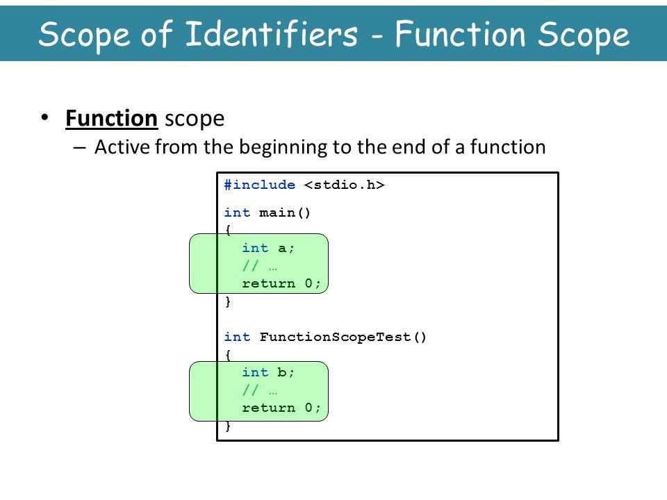 Scope of Identifiers - Function Scope
