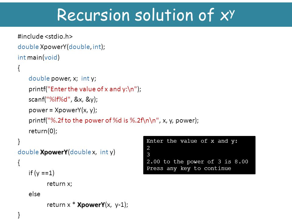 Recursion solution of xy