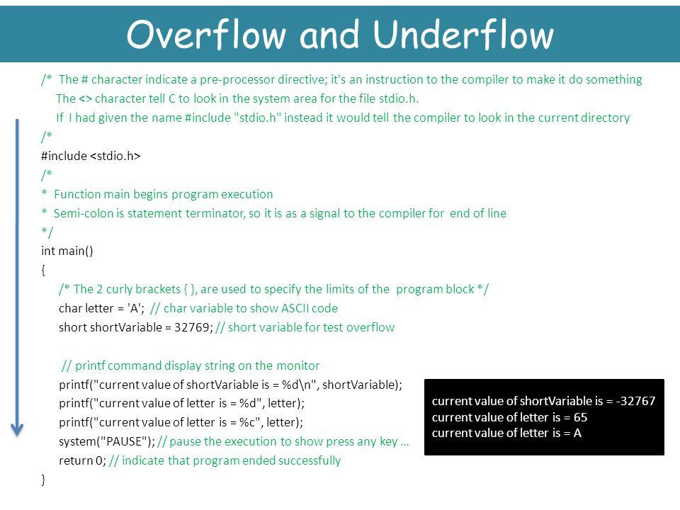 Overflow and Underflow