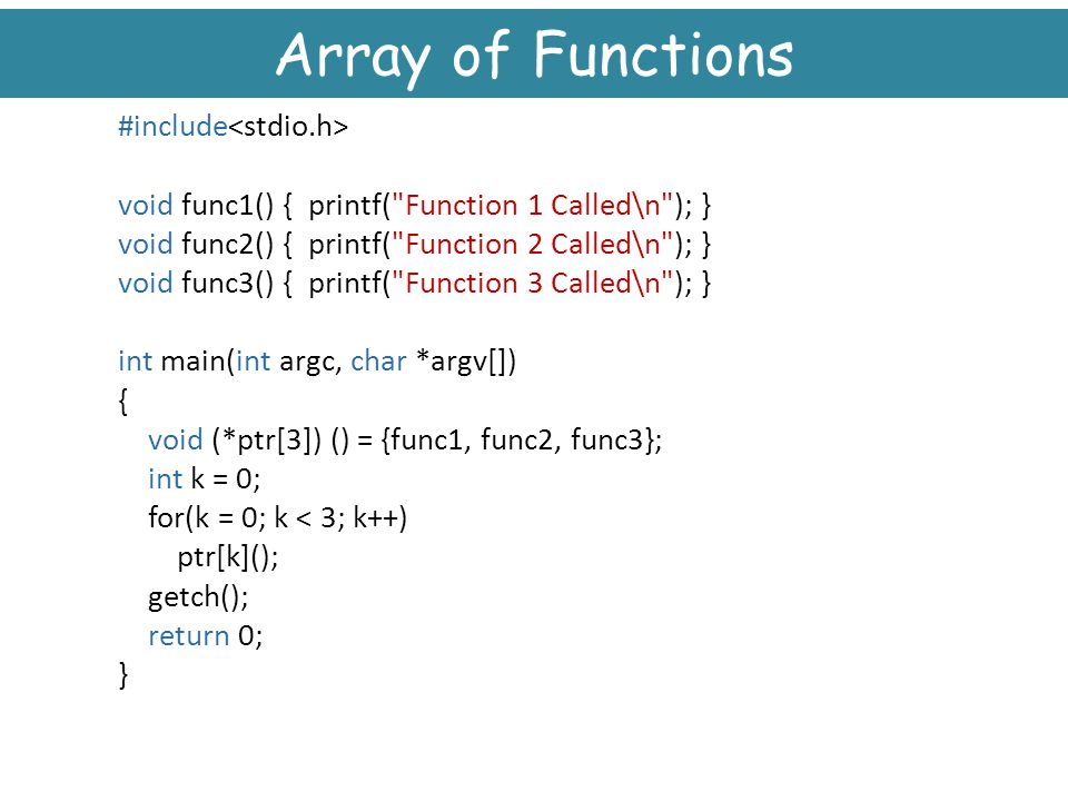 Array of Functions