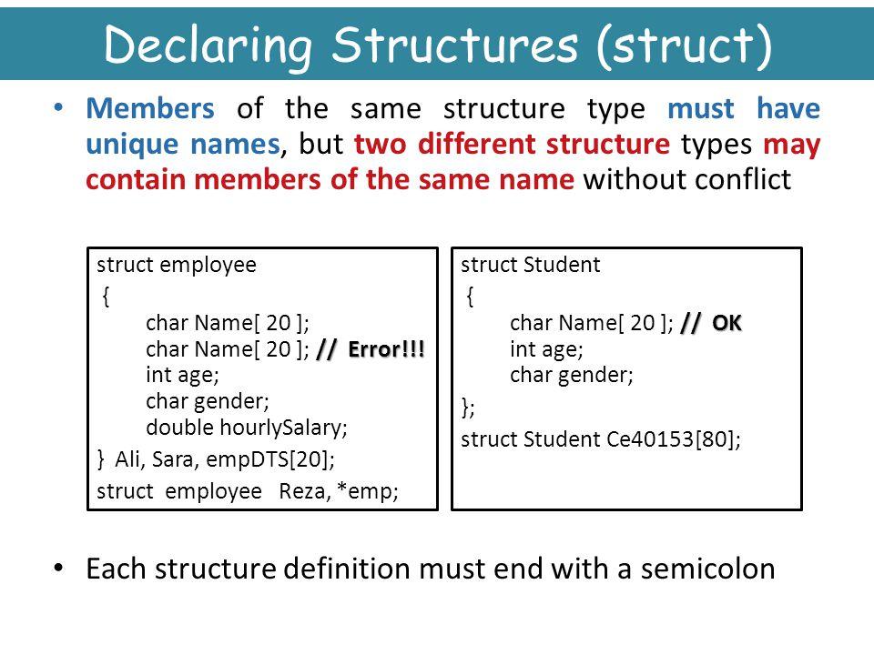 Declaring Structures (struct)