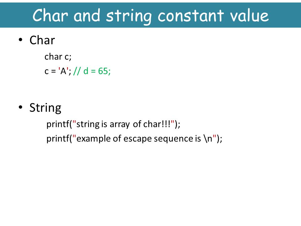 Char and string constant value