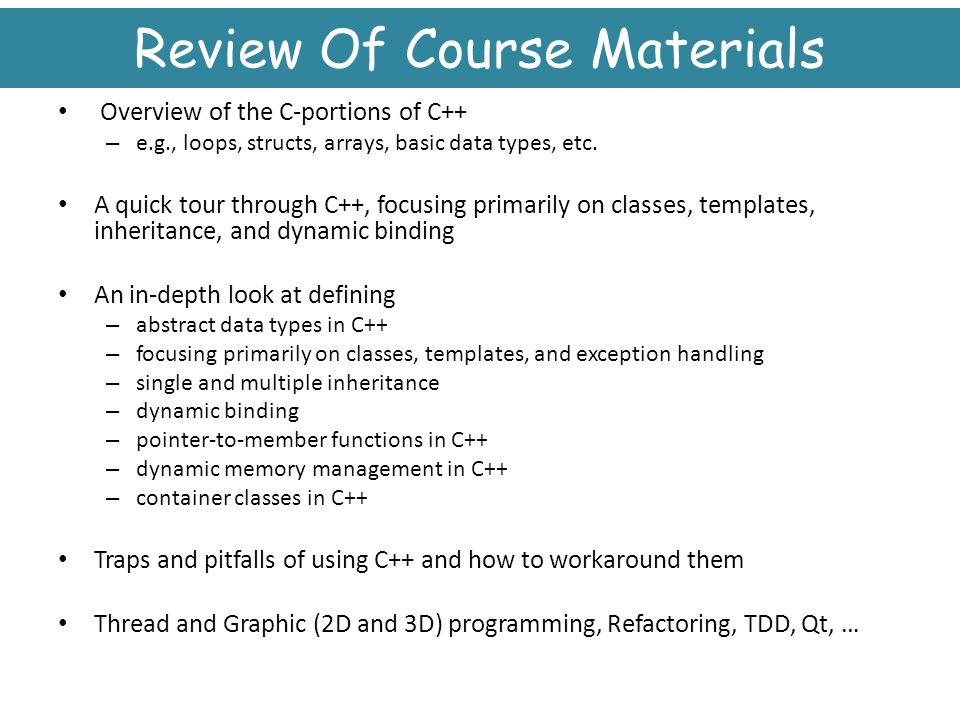 Review Of Course Materials