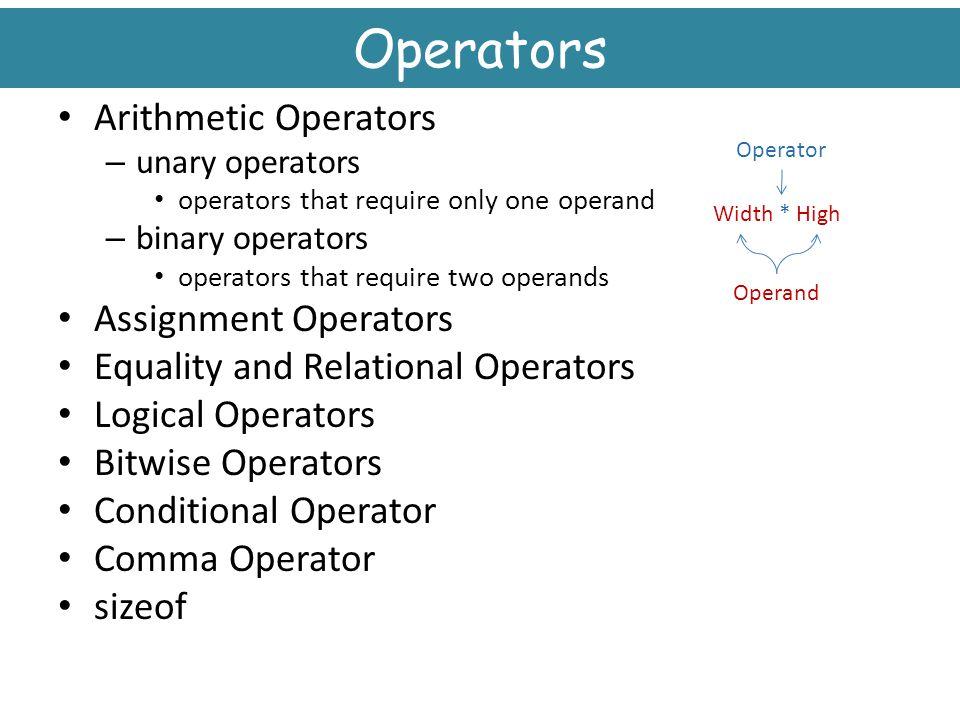 Operators Arithmetic Operators Assignment Operators