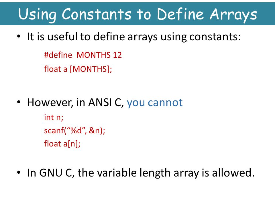 Using Constants to Define Arrays