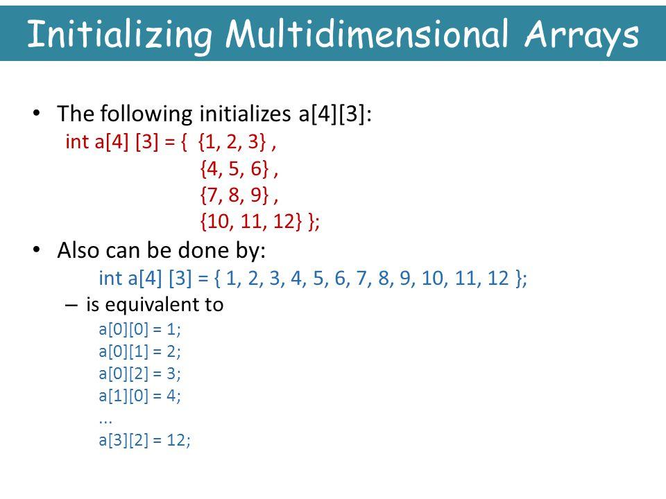 Initializing Multidimensional Arrays
