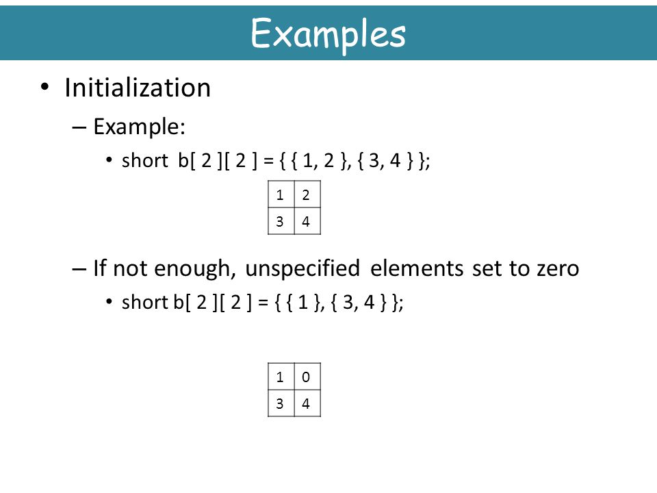 Examples Initialization Example: