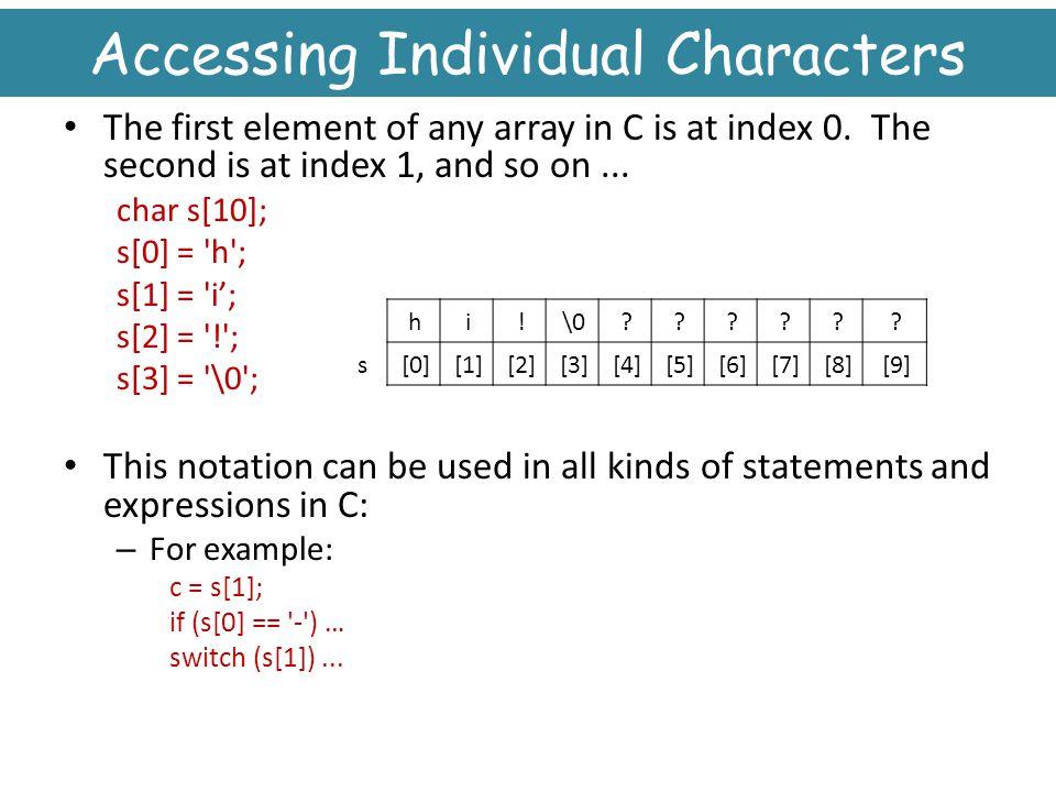 Accessing Individual Characters