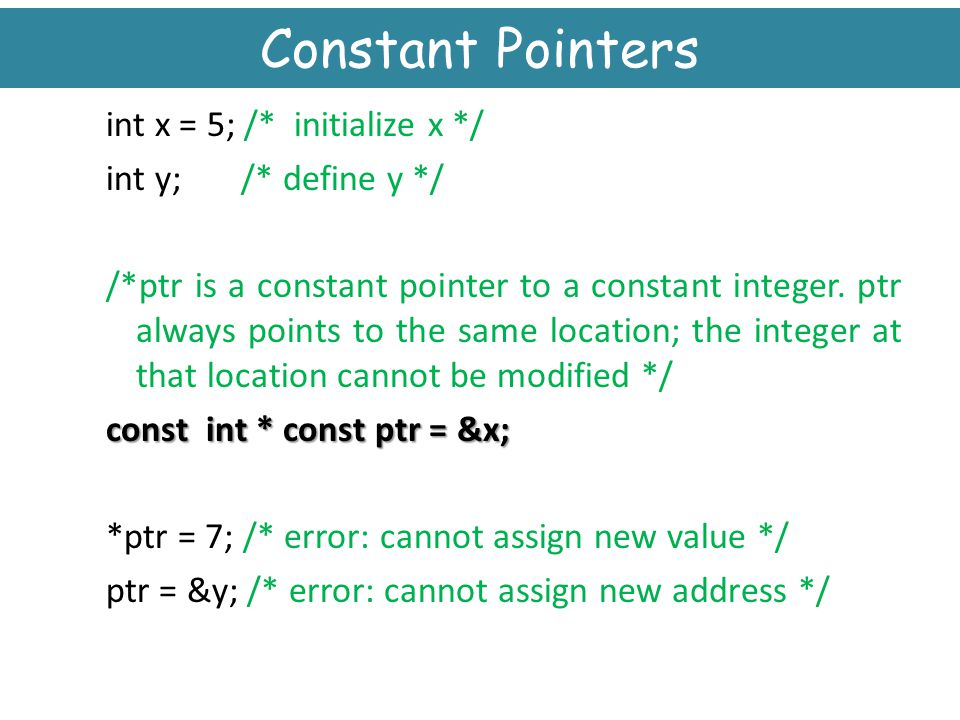 Constant Pointers