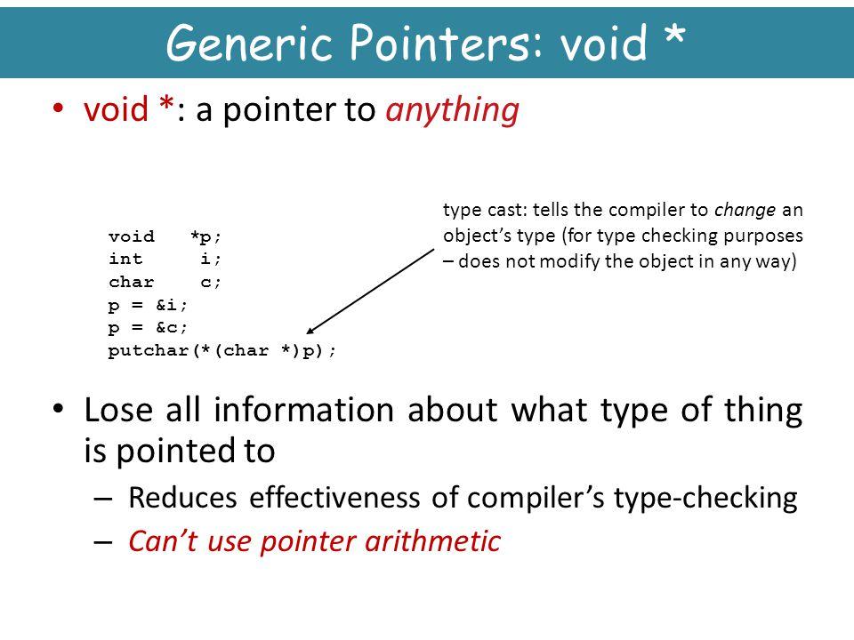 Generic Pointers: void *