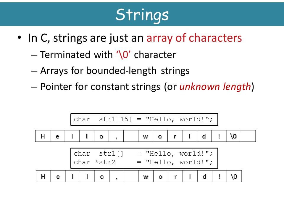 Strings In C, strings are just an array of characters