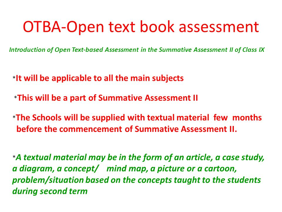 OTBA-Open text book assessment