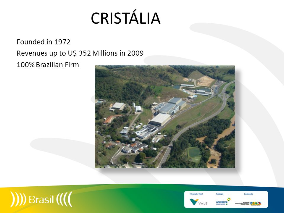 CRISTÁLIA Founded in 1972 Revenues up to U$ 352 Millions in % Brazilian Firm 10