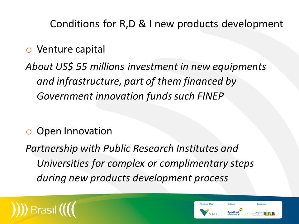 Conditions for R,D & I new products development