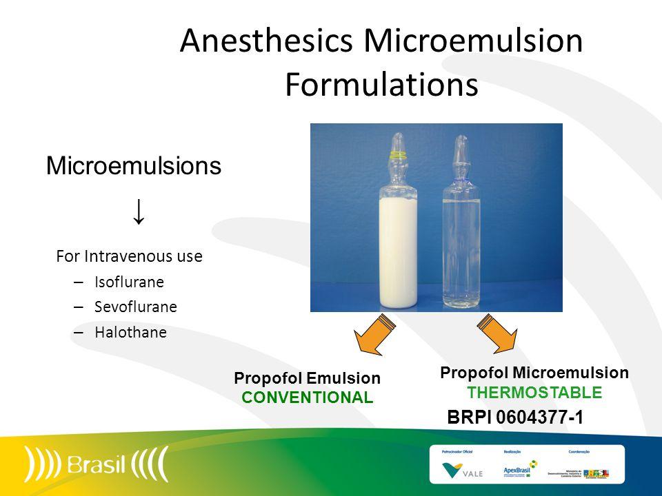 Anesthesics Microemulsion Formulations