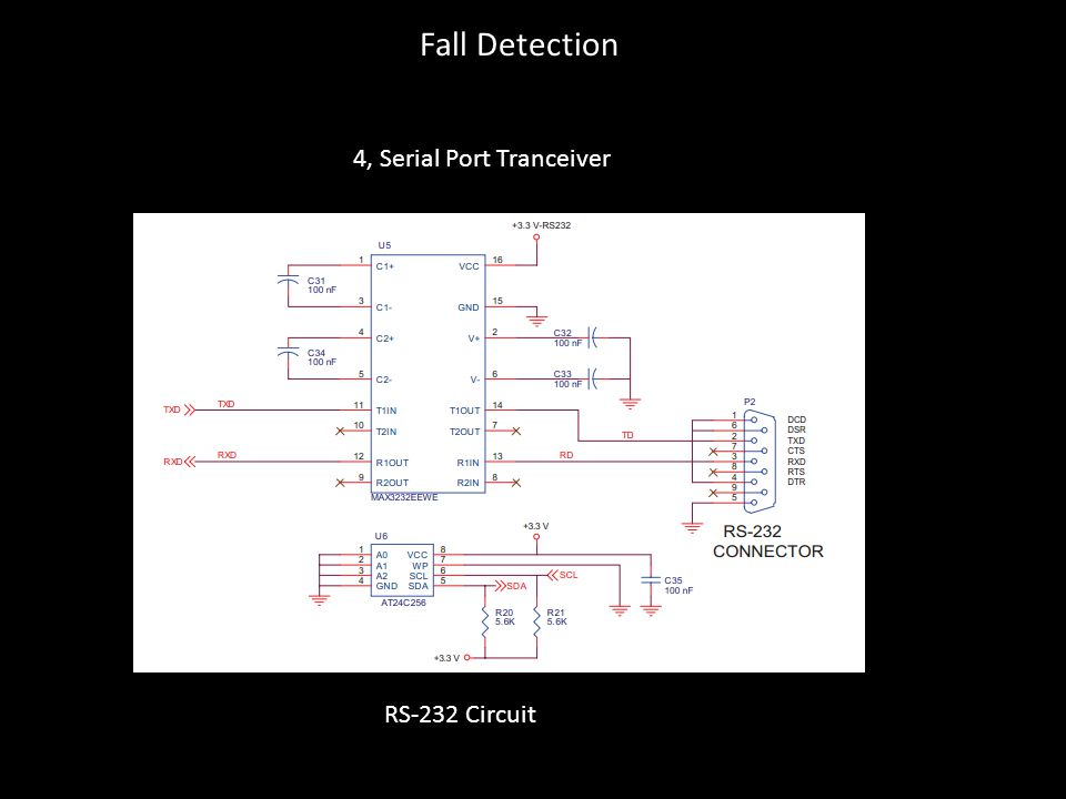 Fall Detection 4, Serial Port Tranceiver RS-232 Circuit