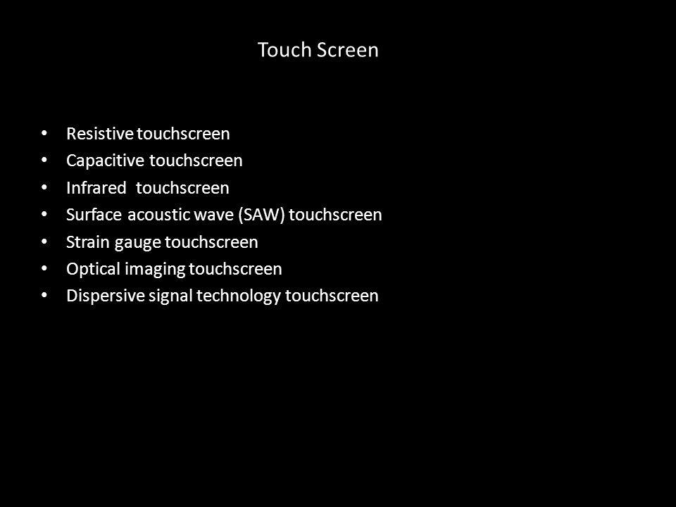Touch Screen Resistive touchscreen Capacitive touchscreen