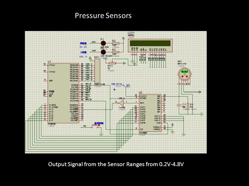 Pressure Sensors Output Signal from the Sensor Ranges from 0.2V-4.8V
