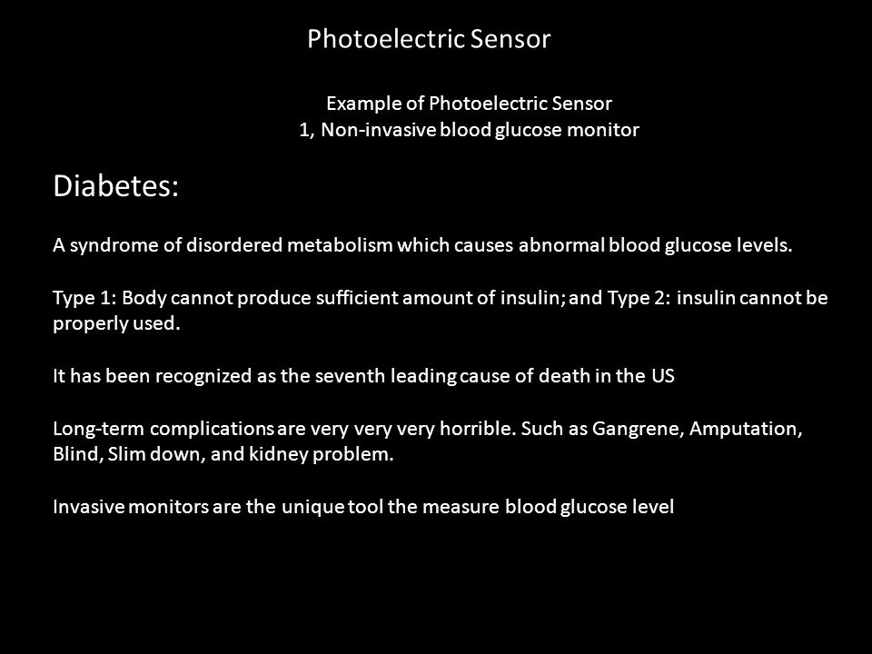 Example of Photoelectric Sensor 1, Non-invasive blood glucose monitor