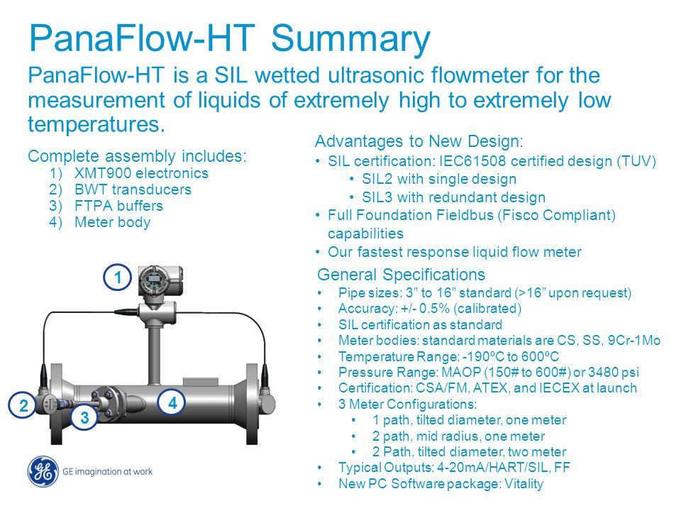 PanaFlow-HT Summary PanaFlow-HT is a SIL wetted ultrasonic flowmeter for the measurement of liquids of extremely high to extremely low temperatures.