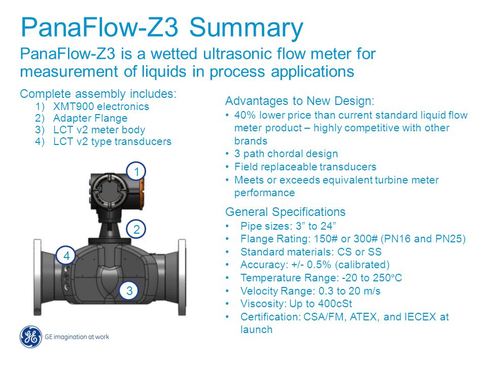 PanaFlow-Z3 Summary PanaFlow-Z3 is a wetted ultrasonic flow meter for measurement of liquids in process applications.