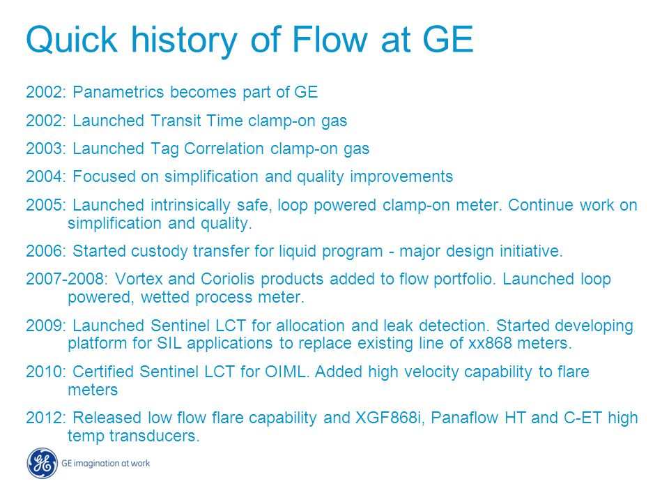 Quick history of Flow at GE