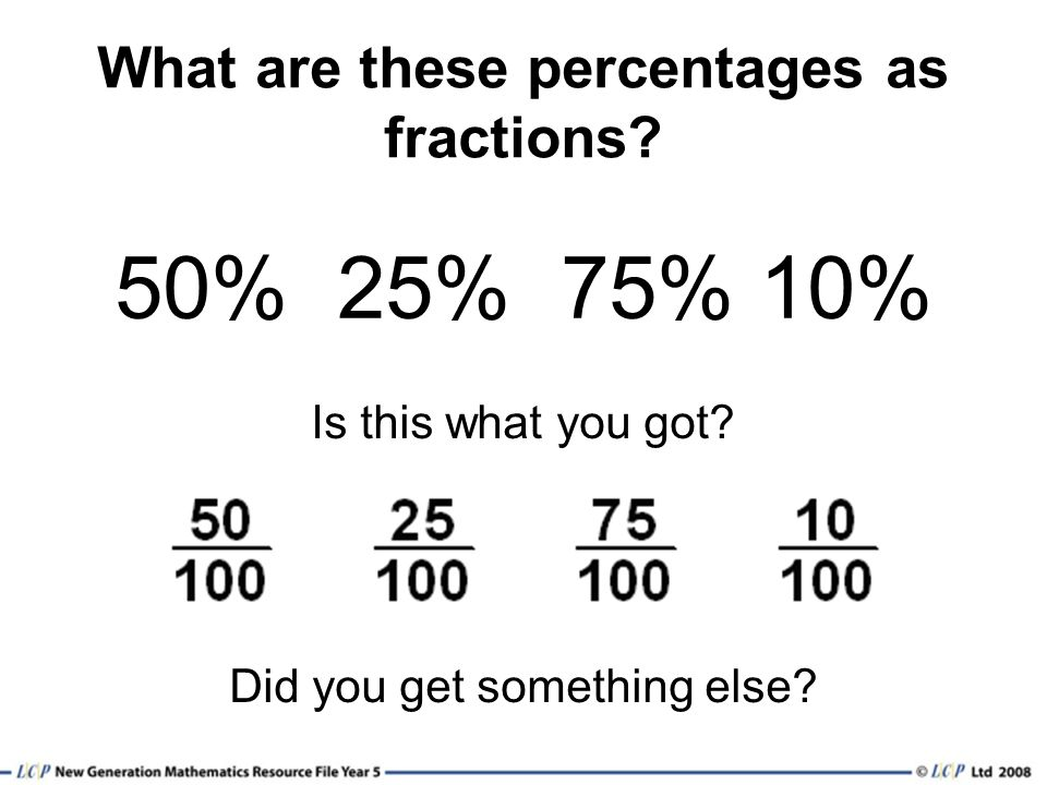 What are these percentages as fractions
