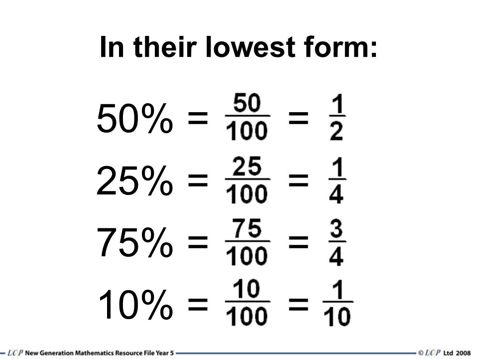 In their lowest form: 50% = = 25% = = 75% = = 10% = =