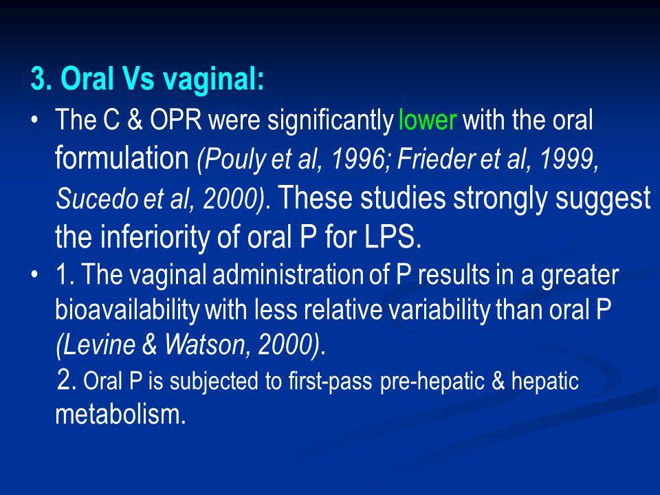 3. Oral Vs vaginal: