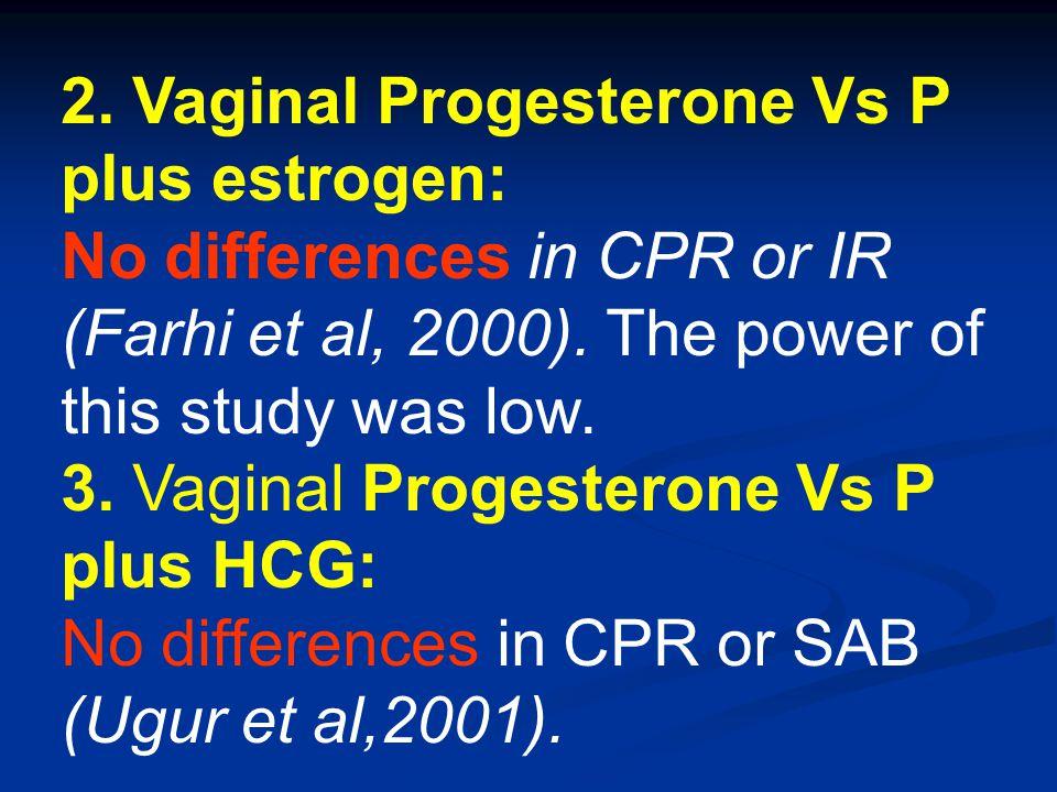 2. Vaginal Progesterone Vs P plus estrogen: