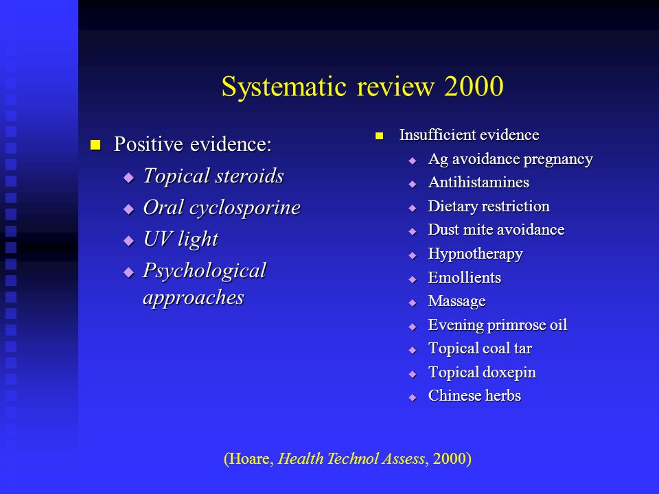 Systematic review 2000 Positive evidence: Topical steroids