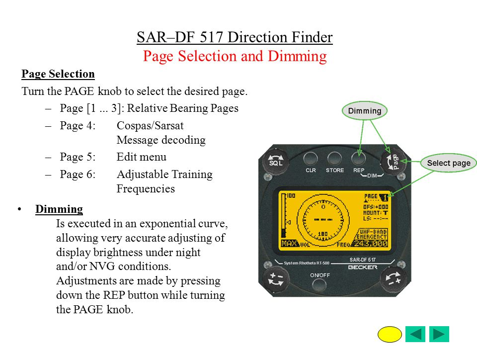 SAR–DF 517 Direction Finder Page Selection and Dimming