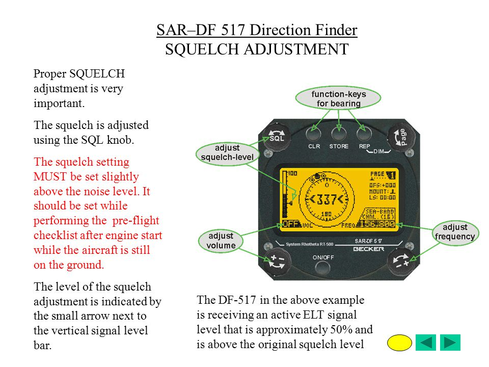 SAR–DF 517 Direction Finder SQUELCH ADJUSTMENT