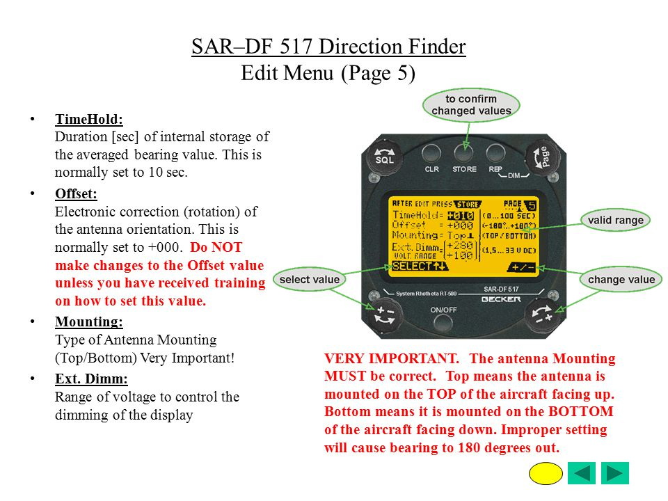 SAR–DF 517 Direction Finder Edit Menu (Page 5)