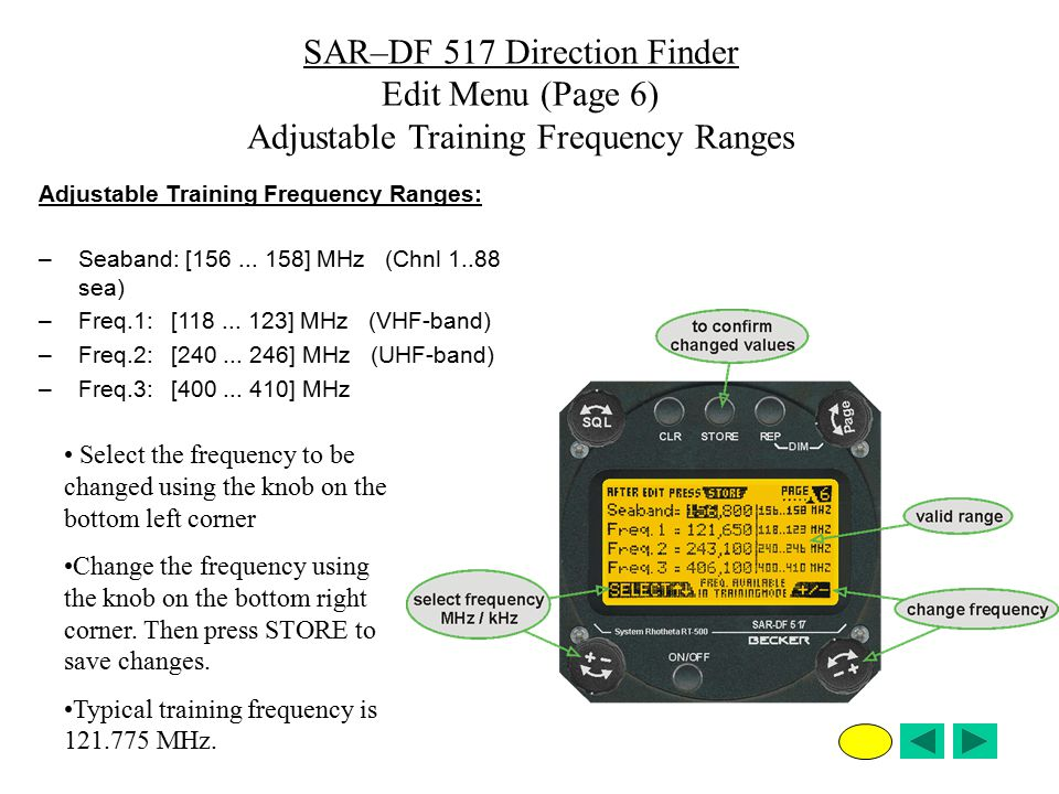 SAR–DF 517 Direction Finder Edit Menu (Page 6)