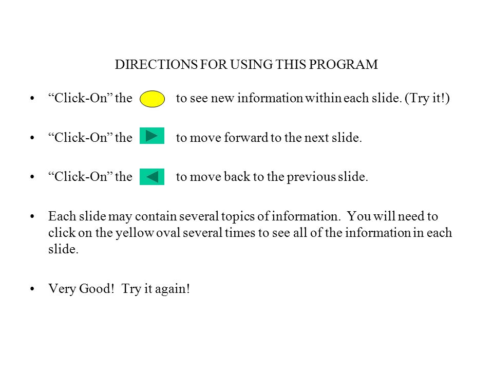 DIRECTIONS FOR USING THIS PROGRAM