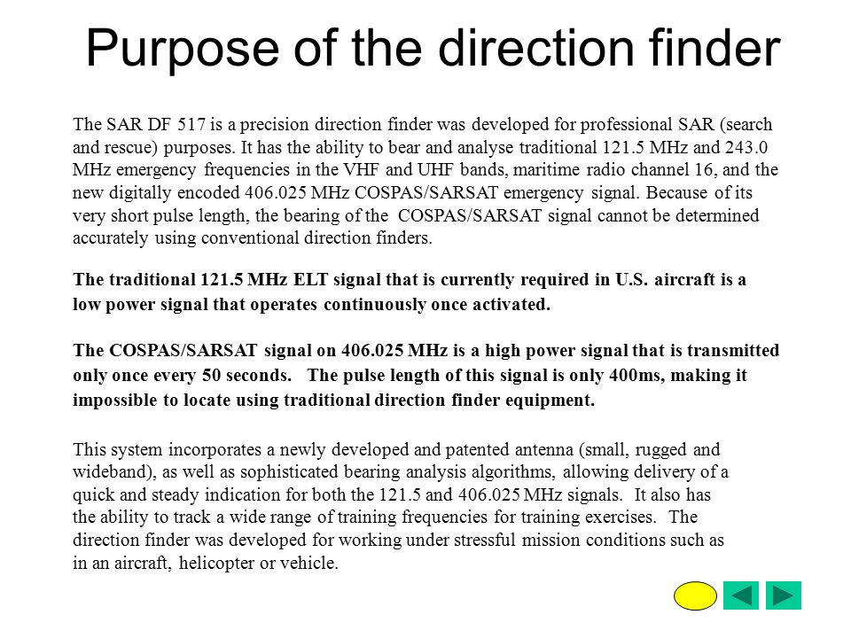 Purpose of the direction finder