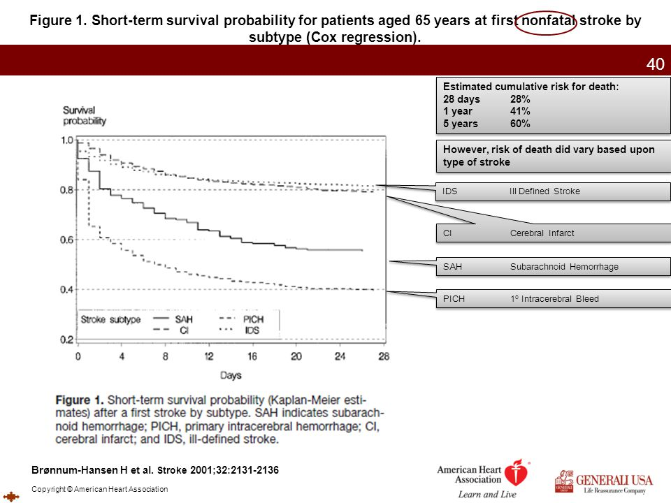 Figure 1. Short-term survival probability for patients aged 65 years at first nonfatal stroke by subtype (Cox regression).