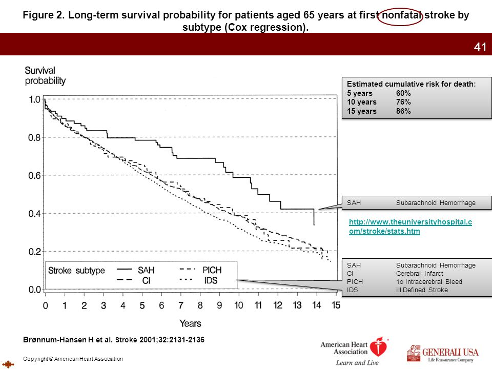 Figure 2. Long-term survival probability for patients aged 65 years at first nonfatal stroke by subtype (Cox regression).