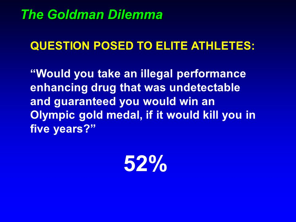 52% The Goldman Dilemma QUESTION POSED TO ELITE ATHLETES: